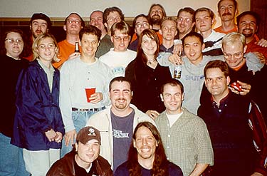 "Some members of the crew of ""Olive, the Other Reindeer,"" at the viewing party, December 17, 1999."